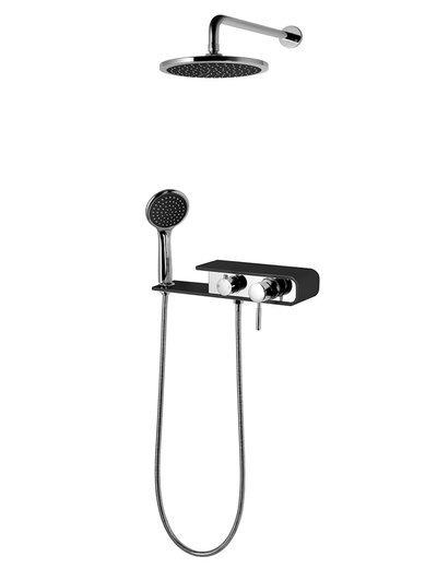 Unterputz Duschsystem Corsan CMN001 verchromt / schwarz