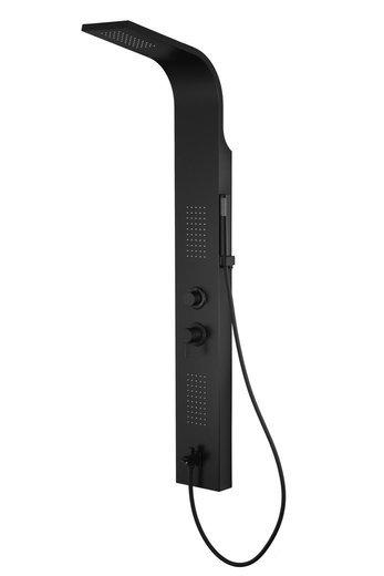 Panel prysznicowy Corsan Alto A017 czarny z czarnym wykończeniem oświetleniem LED i wylewką